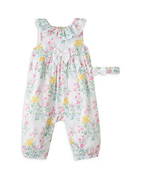 Little Me - Girls' Floral Coverall & Headband Set - Baby