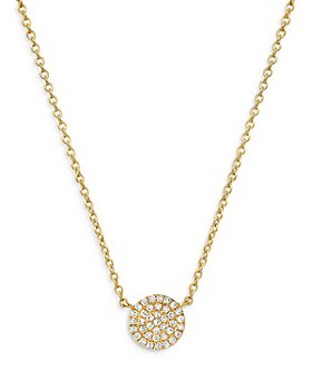 Zoe Lev - 14K Yellow Gold Diamond Disc Pendant Necklace, 18""