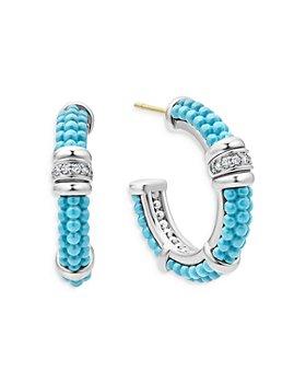 LAGOS - Blue Caviar & Diamond Sterling Silver Hoop Earrings