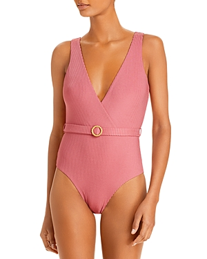 Onia Michelle Belted One Piece Swimsuit