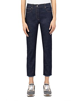 Peserico - Trouser-Style Cropped Jeans in Blue Navy