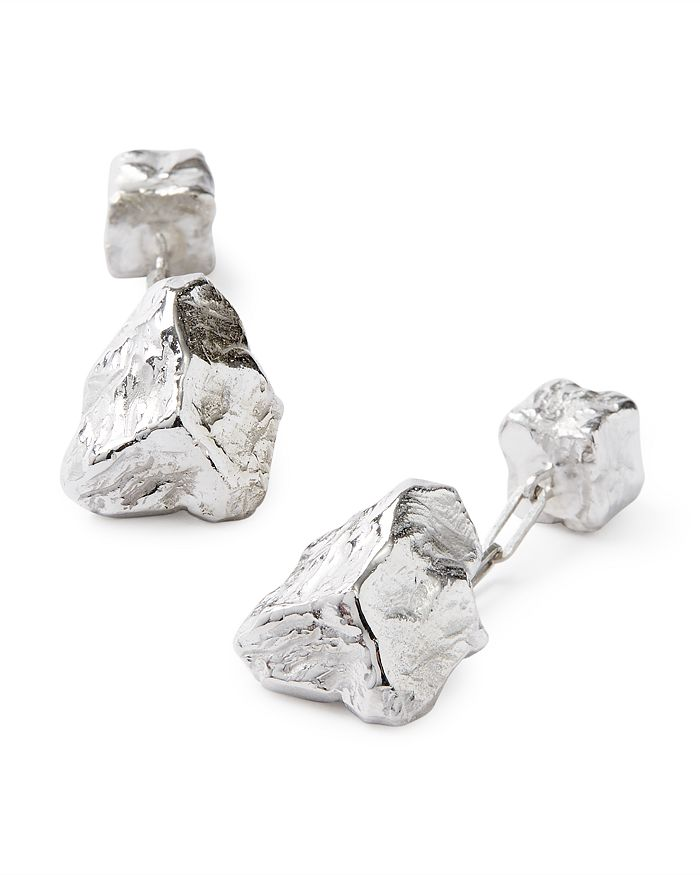 Lanvin Rhodium Plated Rock Cufflinks In Metallic
