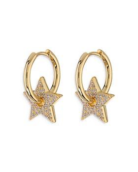 Luv Aj - Pave Star Charm Hoop Earrings