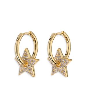 Pave Star Charm Hoop Earrings