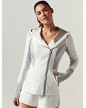 Blanc Noir - Croc Textured Mixed Media Jacket