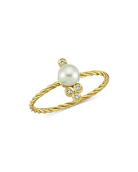 OWN YOUR STORY - 14K Yellow Gold Boho Diamond & Freshwater Pearl Cable Ring