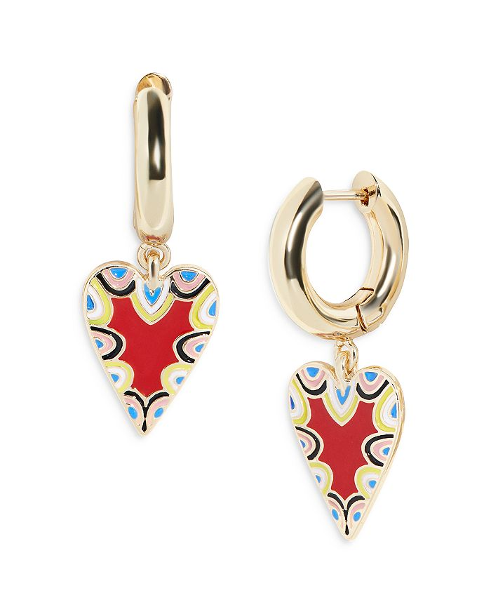 Baublebar Earrings VIDA MULTICOLOR HEART CHARM HOOP EARRINGS IN GOLD TONE