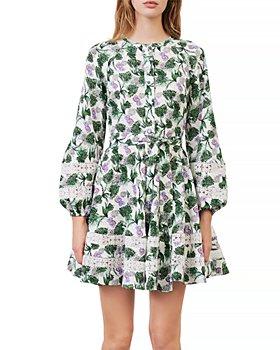 Maje - Roman Floral Print Lace Inset Dress