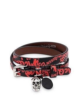 Alexander McQUEEN - Graffiti Leather Double Wrap Skull Bracelet
