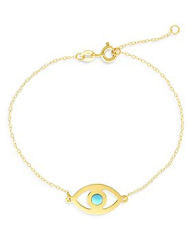 Bloomingdale's - 14K Yellow Gold Turquoise Evil Eye Chain Link Bracelet - 100% Exclusive