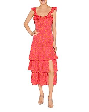 Janie Floral Print Tiered Skirt Dress