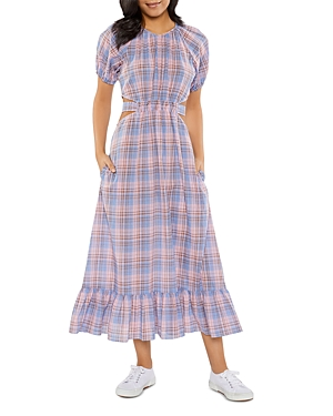 Payson Tie Back Plaid Midi Dress