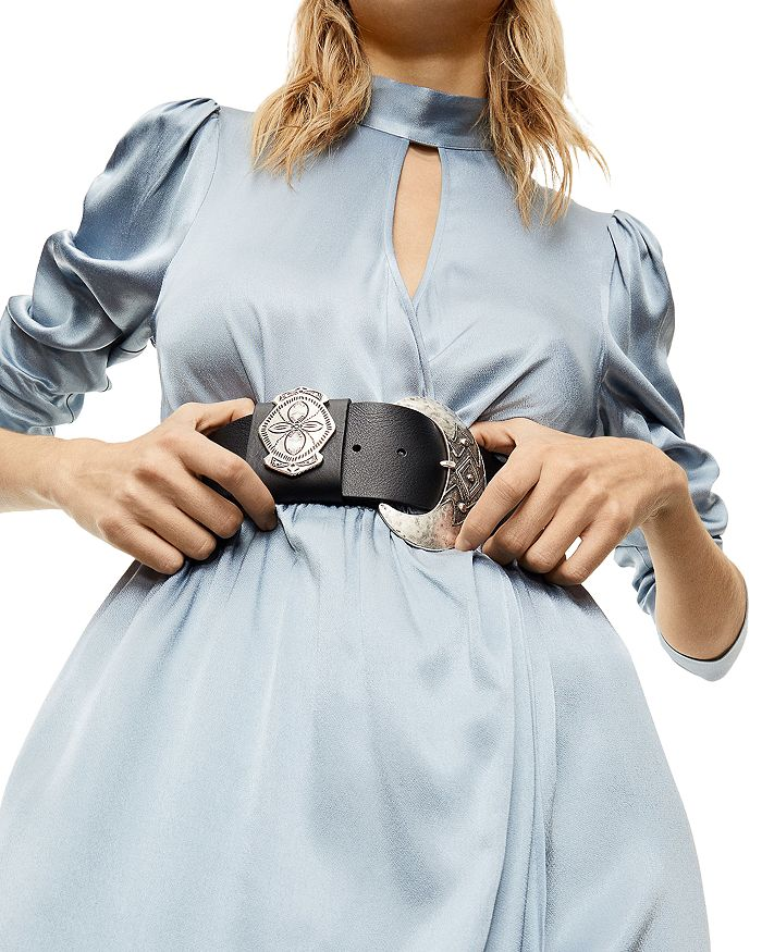 The Kooples - Women's Large Round Buckle Leather Belt