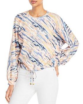 T Tahari - Abstract Print Tie Waist Sweatshirt