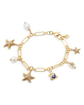 kate spade new york - Sea Star Cubic Zirconia, Cultured Freshwater Pearl & Faux Pearl Starfish Charm Bracelet in Gold-Tone