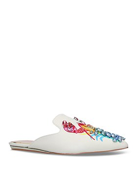 KURT GEIGER LONDON - Women's Otter Pointed Toe Rainbow Crystal Embroidered Lobster Slide Shoes