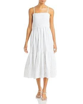 AQUA - Sleeveless Smocked Eyelet Dress - 100% Exclusive