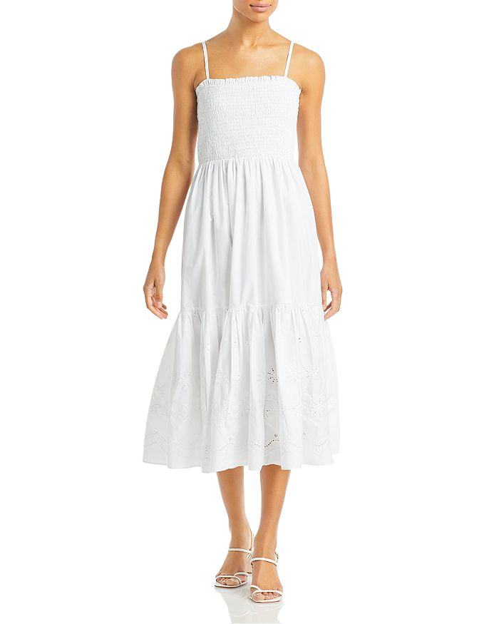 Aqua SLEEVELESS SMOCKED EYELET DRESS - 100% EXCLUSIVE