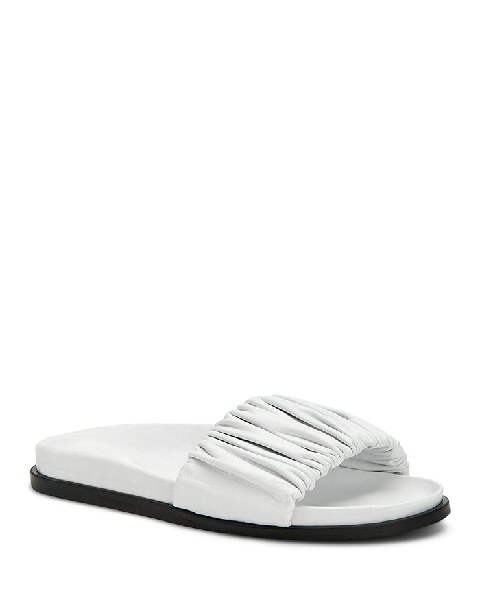 Aquatalia Women's Iva Ruched Slide Sandals In White