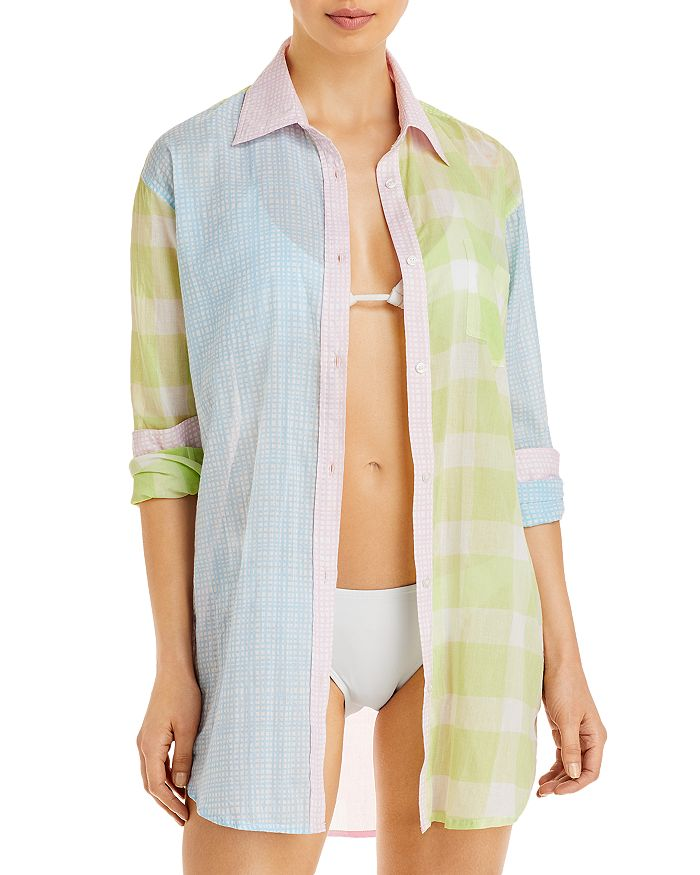 Solid & Striped Cottons THE MIXED PRINT LONG OXFORD TUNIC SWIM COVERUP
