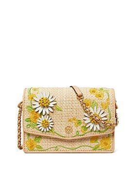 Tory Burch - Robinson Mini Embroidered Straw Shoulder Bag