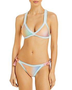 Platinum inspired by Solange Ferrarini - Light Ombre Crochet Trim Triangle Bikini Top & Ombre Side Tie Bikini Bottom