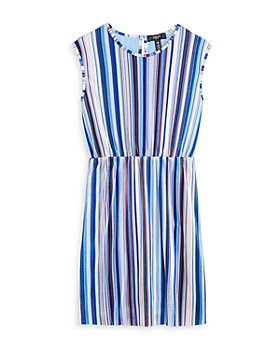 AQUA - Girls' Striped Plissé Dress, Big Kid - 100% Exclusive