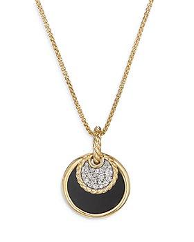 "David Yurman - 18K Yellow Gold DY Elements® Black Onyx, Mother-of-Pearl & Diamond Convertible Pendant Necklace, 17"""