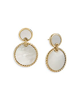David Yurman - 18K Yellow Gold DY Elements® Double Drop Earrings with Mother-of-Pearl