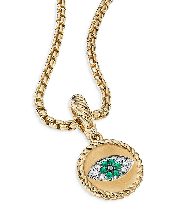 DAVID YURMAN Jewelrys 18K YELLOW GOLD EVIL EYE AMULET WITH EMERALDS & DIAMONDS