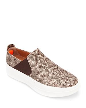 Women's Rosette Diamond Perforated Slip On Platform Sneakers