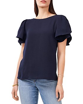 VINCE CAMUTO - Tiered Sleeve Crinkle Gauze Blouse
