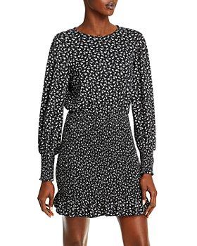 AQUA - Long Sleeve Smocked Mini Dress - 100% Exclusive