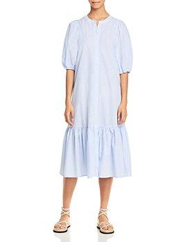 Sundays - Floria Pinstriped Button Down Dress