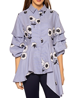 Embroidered Stripe Cascade Blouse (42% off)