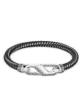 JOHN HARDY - Men's Sterling Silver Classic Woven Black Rubber Carabiner Clasp Bracelet
