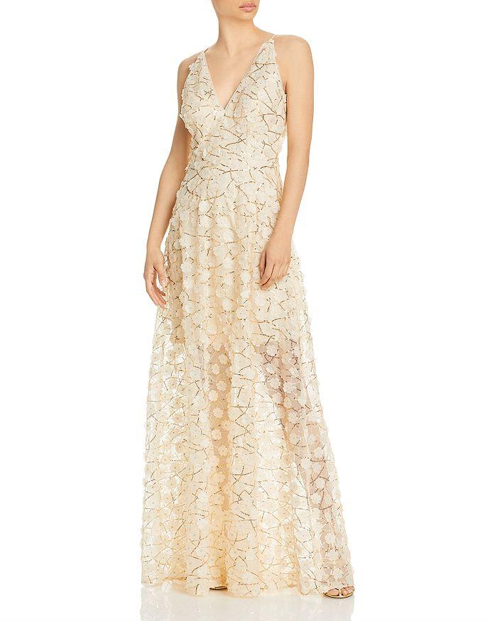 AQUA - Raised Floral V Neck Gown - 100% Exclusive