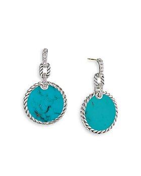 David Yurman - Sterling Silver DY Elements® Drop Earrings with Turquoise & Diamonds