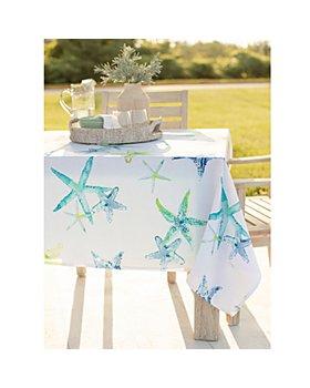"""Benson Mills for Bloomingdale's - Sandy Indoor Outdoor Spillproof Aqua Tablecloth, 104"""" x 60"""" - 100% Exclusive"""