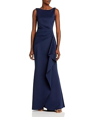 Sleeveless Side Tuck Ruffle Gown