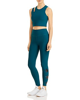 AQUA - Longline Cutout Sports Bra & Foil Star Leggings - 100% Exclusive