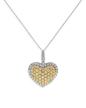 """Bloomingdale's - Yellow & White Diamond Heart Pendant Necklace in 14K White & Yellow Gold, 18"""" - 100% Exclusive"""