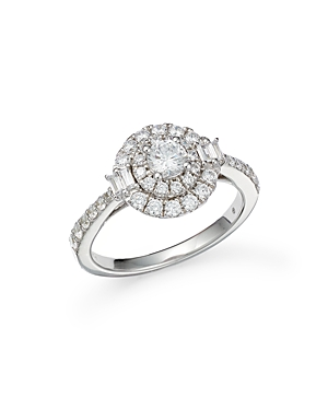 Bloomingdale's Luxe Collection Round Cut Diamond Double Halo Engagement Ring in 14K White Gold, 1.0