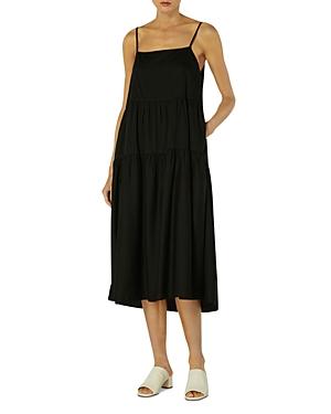 Cotton Strappy Tiered Midi Dress