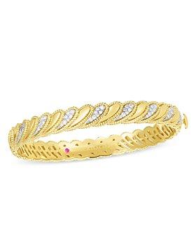 Roberto Coin - 18K Yellow Gold Byzantine Barocco Diamond Bangle Bracelet