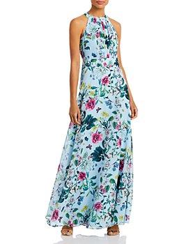 Eliza J - Floral Print Halter Gown