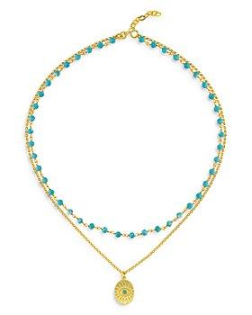 "Maison Irem - Hawaii Dream Layered Bead & Pendant Necklace, 15"""