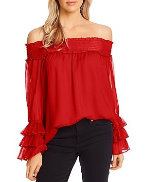 Off-the-Shoulder Long-Sleeve Blouse