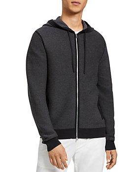 Theory - Melker Micro Striped Hooded Zip Cardigan