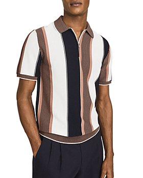 REISS - Nicky Half Zip Block Stripe Polo Shirt